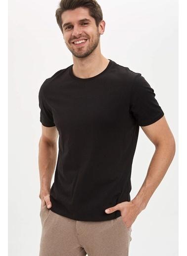DeFacto Bisiklet Yaka Slim Fit  Basic Pamuklu  Tişört Siyah